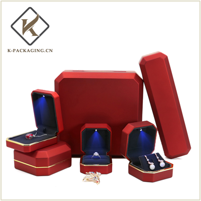 Rubber Painting LED Jewelry Box with golden edge
